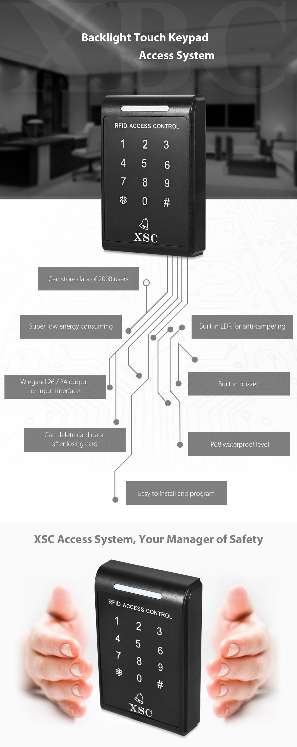 XSC 2000 Users Access Control Keypad System Support Password / Inductive Card Built in Buzzer