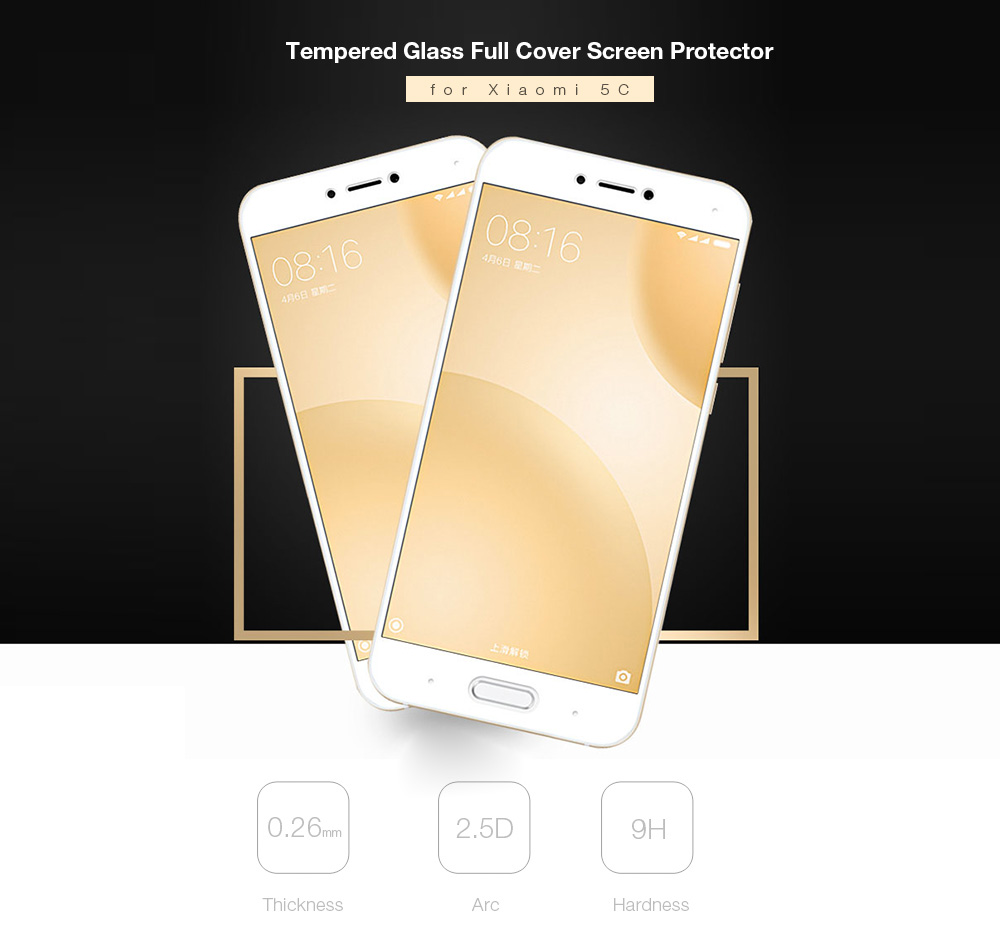 Luanke Tempered Glass Full Cover Screen Film for Xiaomi 5C Ultra-thin Explosion-proof Protector
