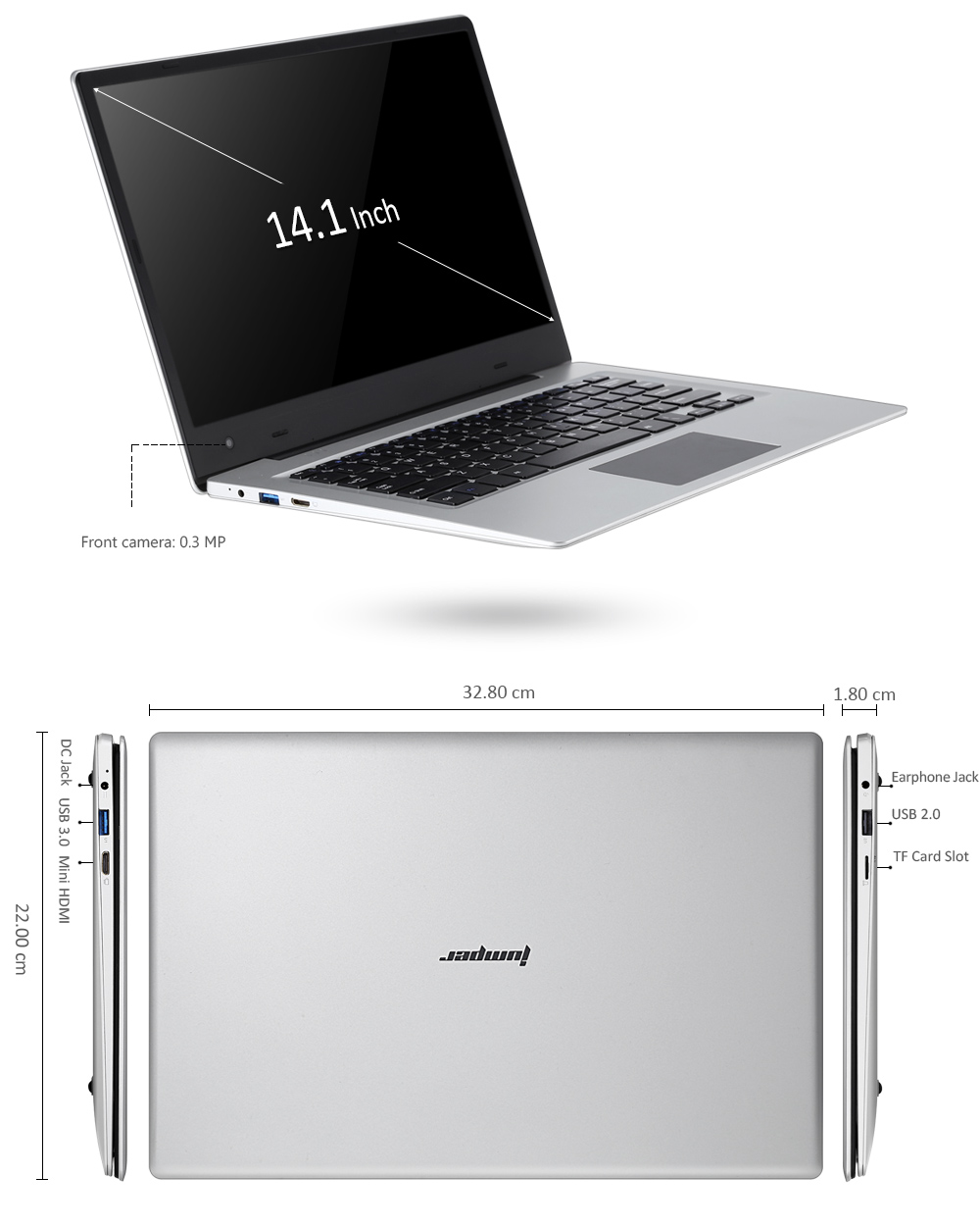 Jumper EZBOOK 3 Notebook 14.1 inch Windows 10 Home Intel Apollo Lake N3350 Dual Core 1.1GHz 4GB RAM 64GB eMMC Camera
