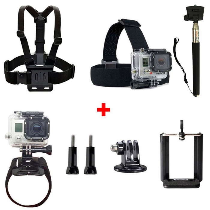 CP-GP23B Head Chest Wrist Band Strap Belt Selfie Stick Hands-Free Recording Universal Accessory Kit for Action Camera