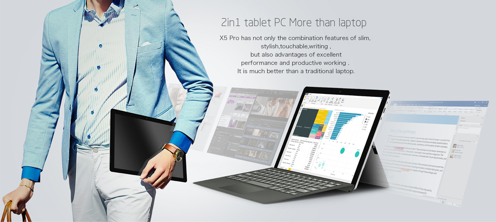 Teclast X5 Pro 2 in 1 Tablet PC 12.2 inch Windows 10 IPS Capacitive Screen Intel Kaby Lake Core M3-7Y30 Dual Core 1.0GHz 8GB RAM 256GB SSD 2.0MP + 5.0MP Cameras Bluetooth 4.2
