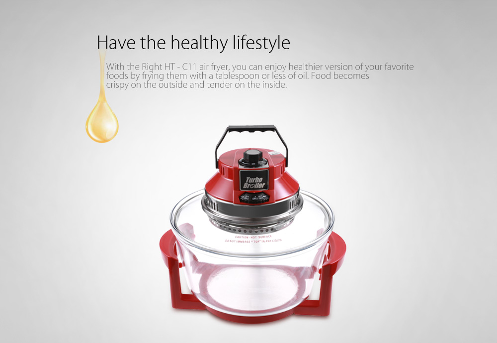 Right HT - C11 1200W 12L Oil-free Electric Infrared Turbo Convection Oven Air Fryer