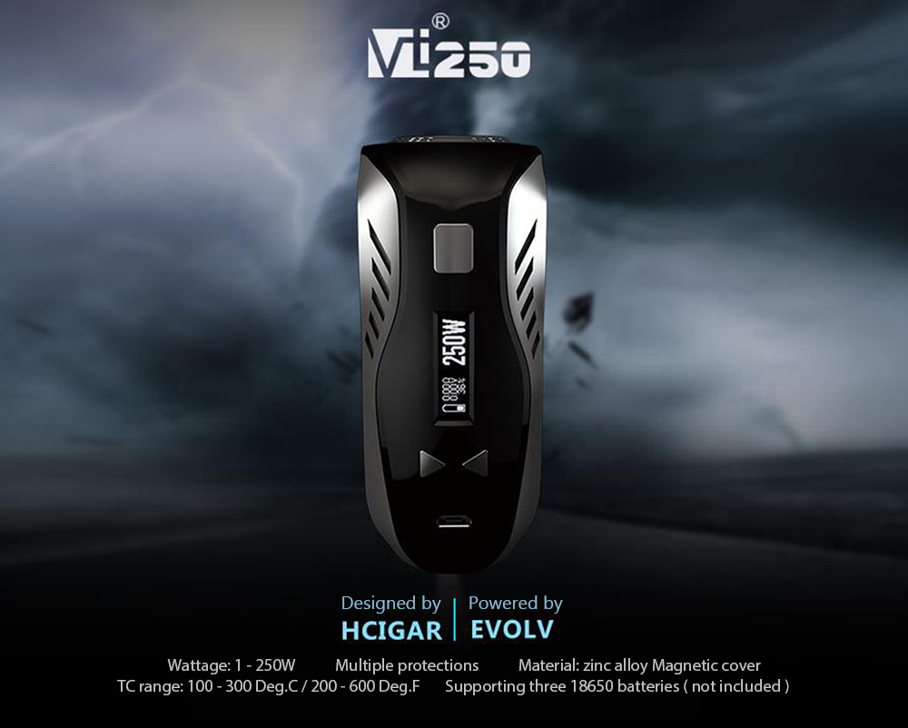 Original HCIGAR VT250 TC Mod with DNA250 Chip / 1 - 250W / 100 - 300C / 200 - 600F / Supporting Three 18650 Batteries for E Cigarette