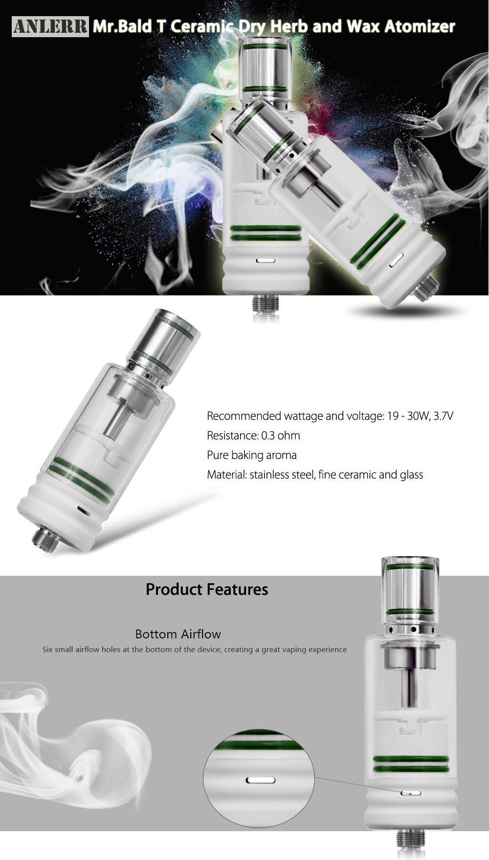Original ANLERR MrBald T Ceramic Dry Herb and Wax Atomizer with 0.3 ohm / 19 - 30W / 3.7V for E Cigarette
