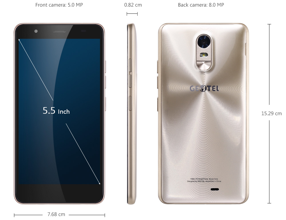 Geotel Note 4G Phablet 5.5 inch Android 6.0 MTK6737 Quad Core 1.25GHz 3GB RAM 16GB ROM Metal Print Dual Band WiFi