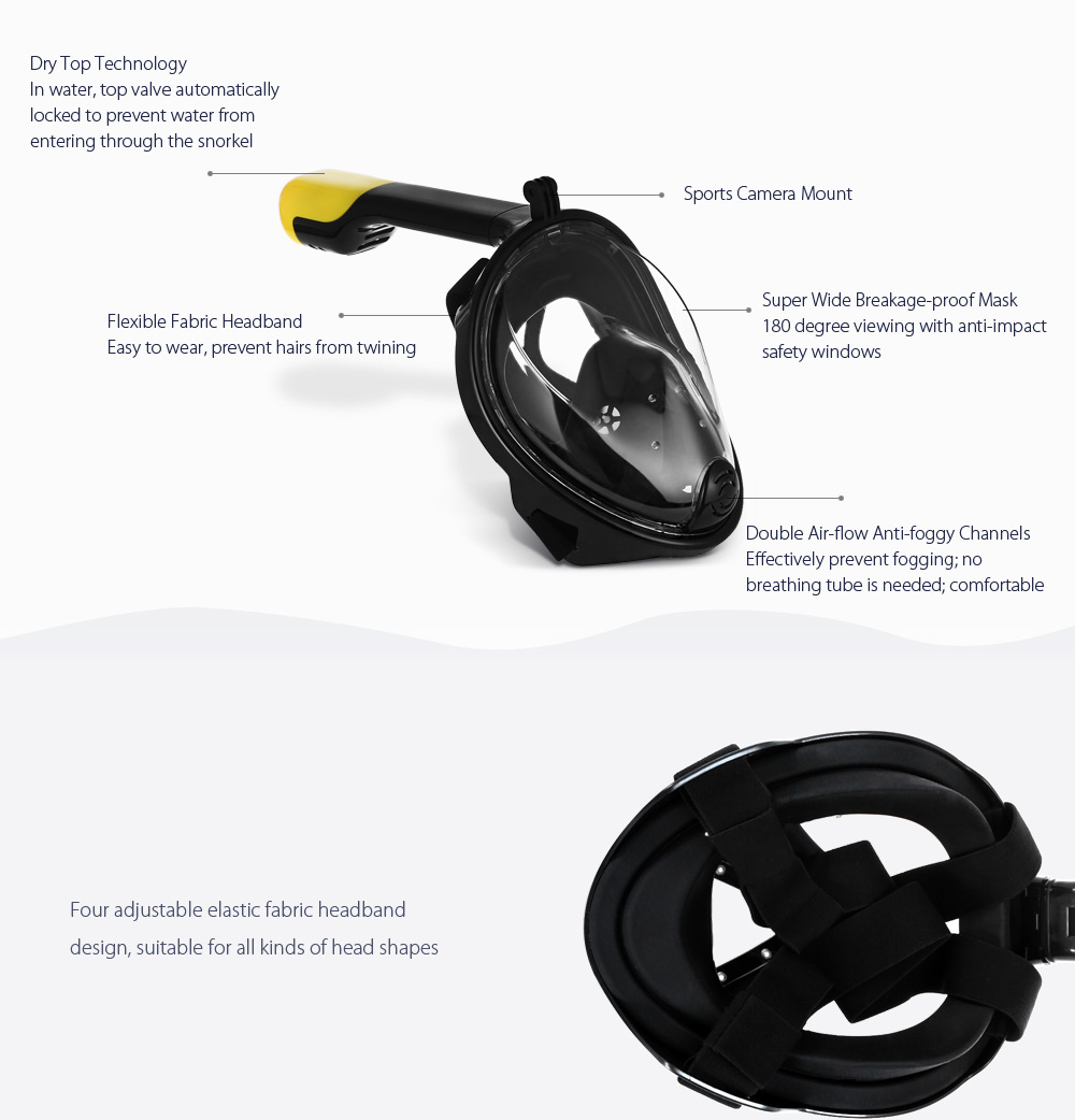 SMACO M2068G Full Face Snorkel Mask Water Sports Diving Equipment for Action Camera DV