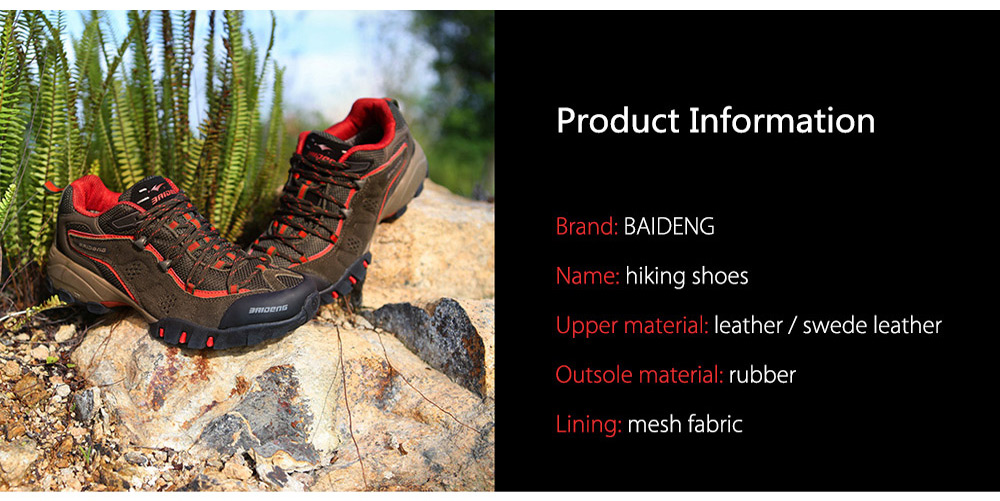 BAIDENG Men Breathable Mesh Trekking Shoes for Camping