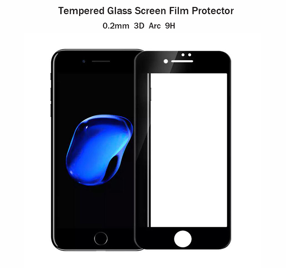 ASLING Tempered Glass Screen Protective Film for iPhone 7 0.2mm 9H 3D Arc Edge Full Cover Explosion-proof Membrane