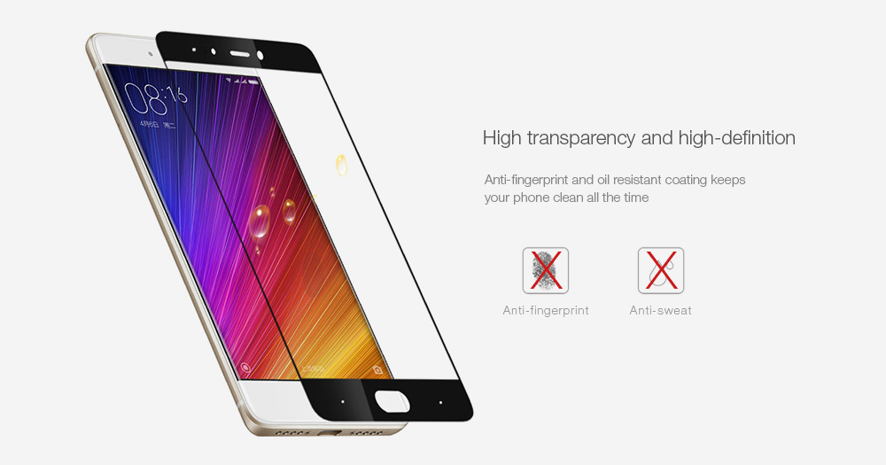 ASLING Tempered Glass Screen Protector for Xiaomi 5S 0.2mm 9H 2.5D Full Cover Explosion-proof Ultrathin Protective Film