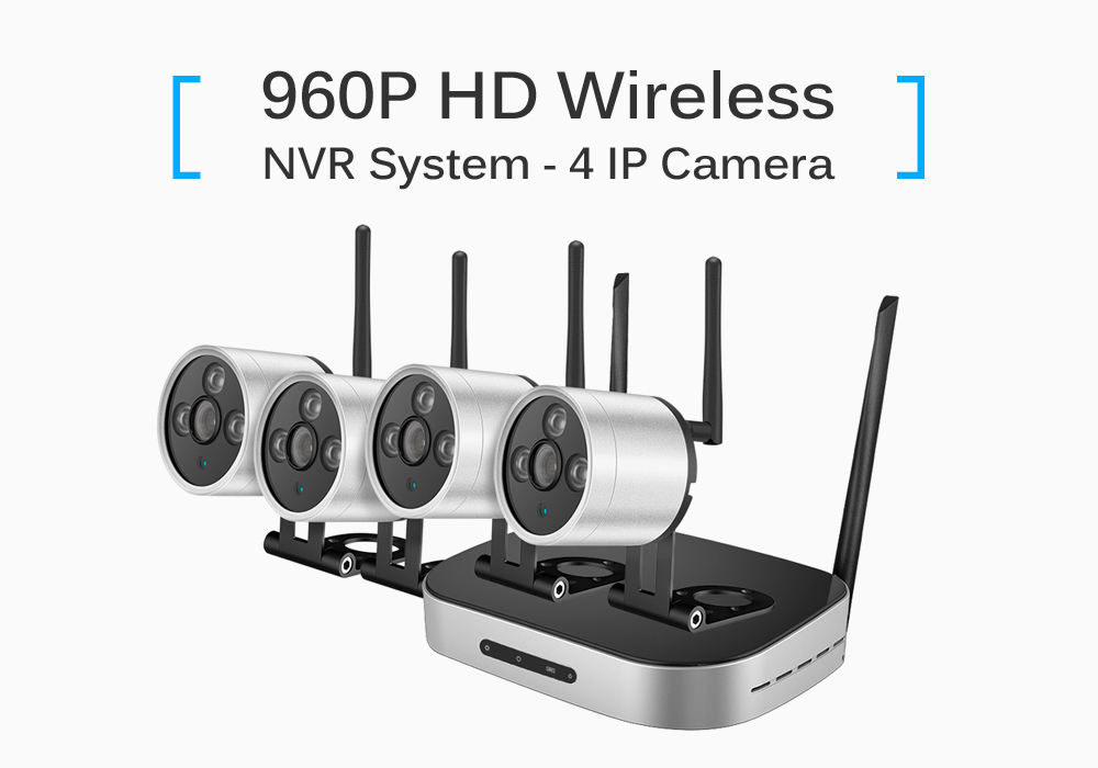 960P Wireless 4 / 8 Channel NVR Kit with 4 IPC