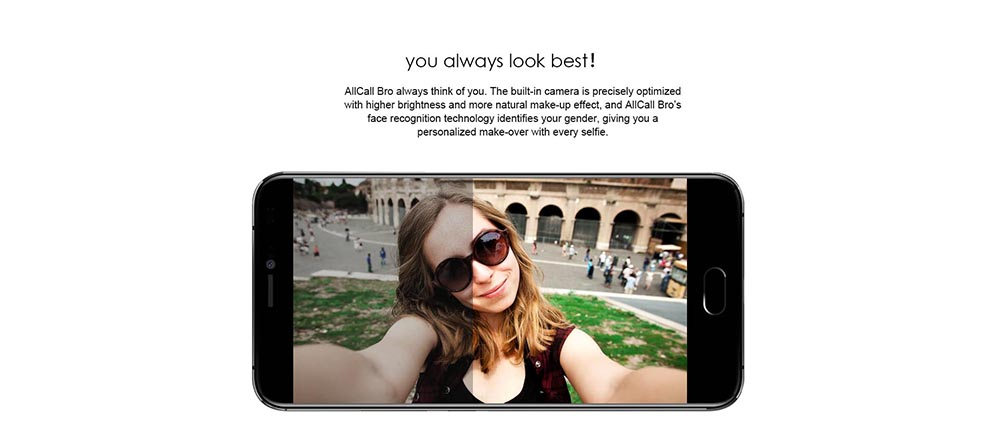 AllCall Bro 3G Smartphone Android 7.0 5.0 inch MTK6580A Quad Core 1.3GHz 1GB RAM 16GB ROM Dual Rear Cameras OTG Function Full Metal Body GPS