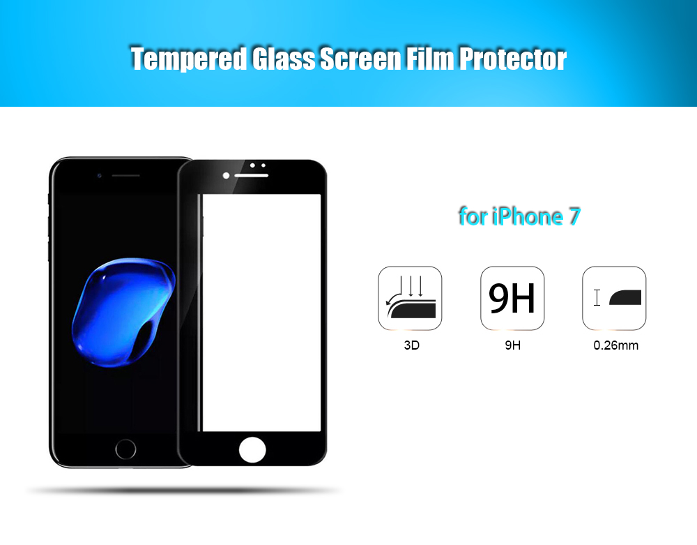 ASLING Tempered Glass Full Cover Screen Film for iPhone 7 3D Soft Edge Explosion-proof Protector