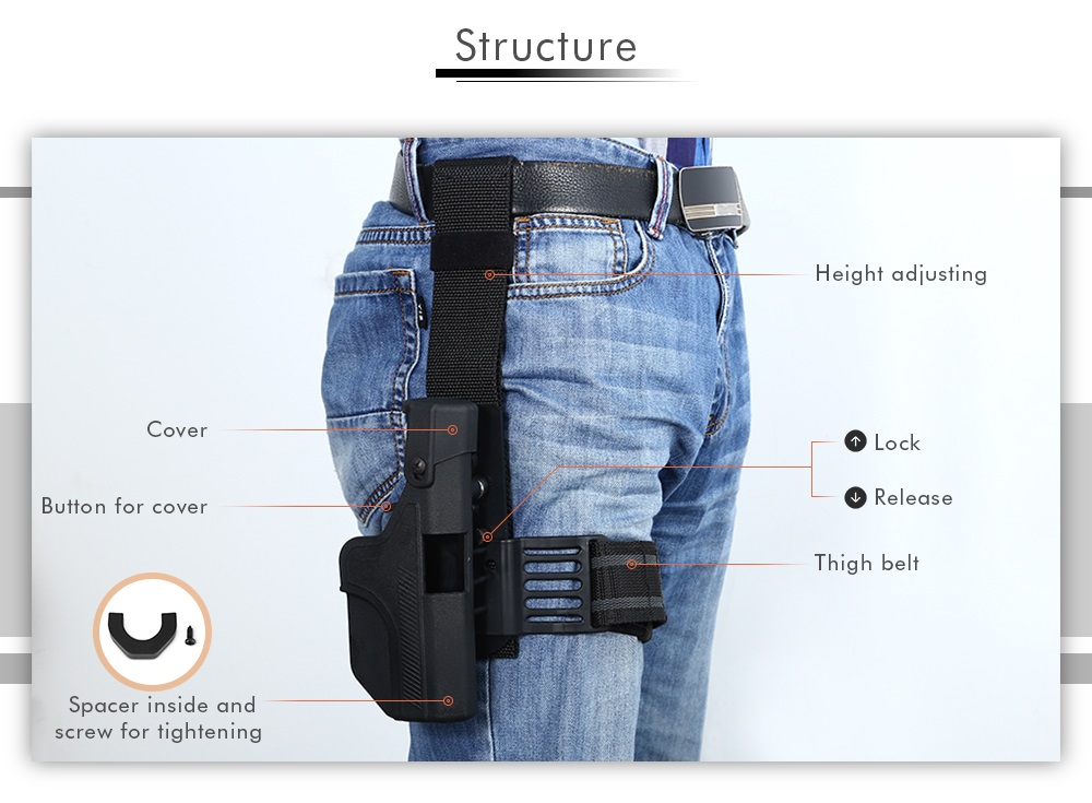 JINJULI Right Hand Tactical Leg Thigh Pouch with Adjustable Belt for Waistband