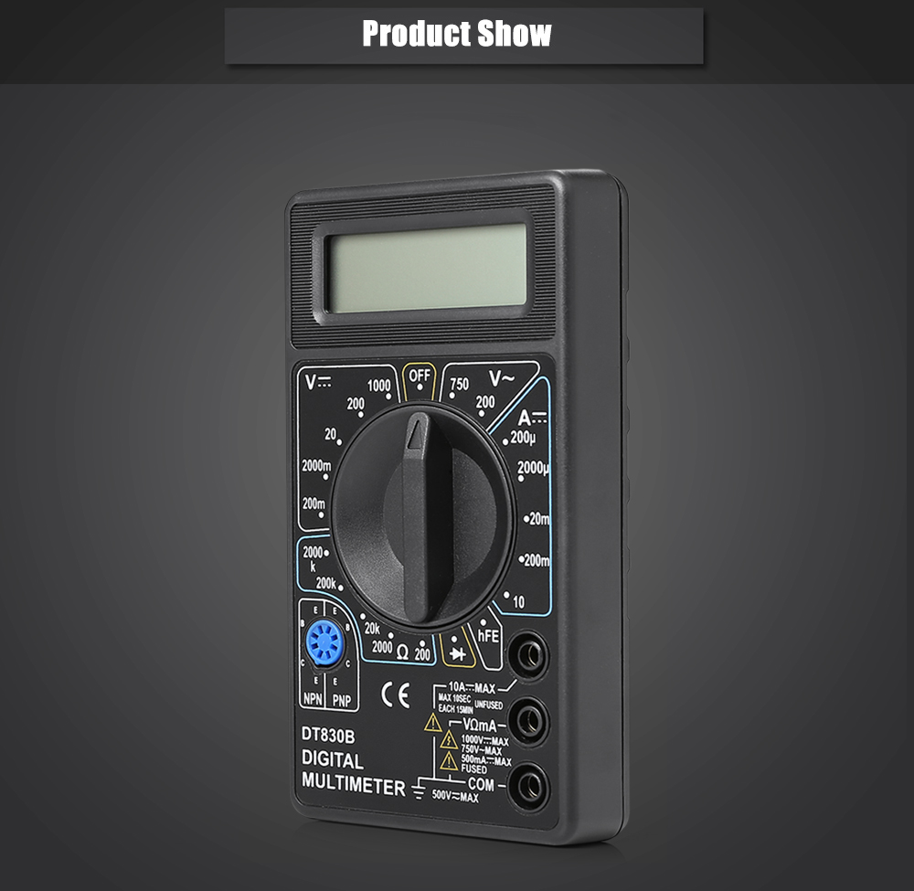 DT - 830B Portable 19 Ranges Digital Multimeter with Overload Protection