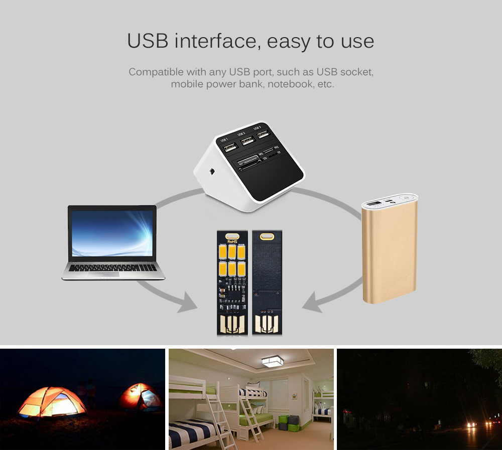 USB Light Keychain Super Bright 6 x 5730SMD LED Lamp with Smart Touch Electrodeless Dimming Switch for Laptop Keyboard