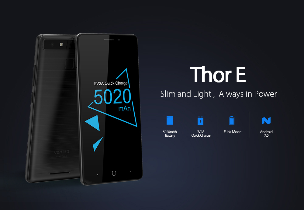 Vernee Thor E 4G Smartphone 5.0 inch Android 7.0 MTK6753 Octa Core 1.3GHz 3GB RAM 16GB ROM Touch Sensor 5020mAh Battery Full Metal Body E-ink Mode