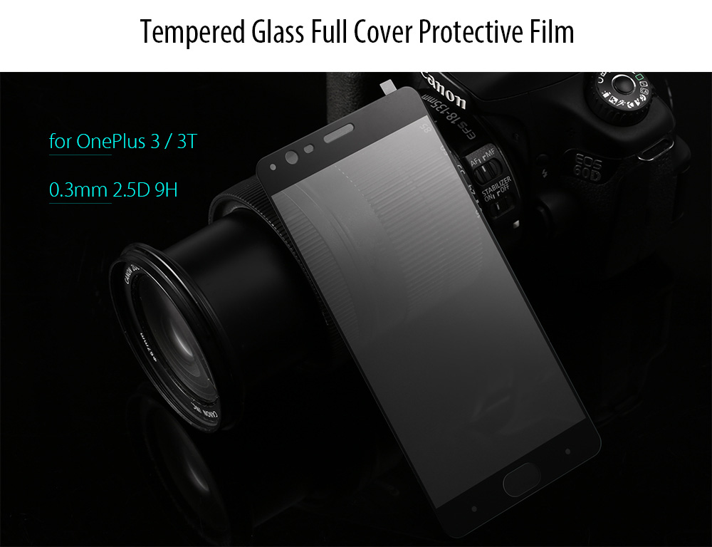 Luanke Tempered Glass Full Cover Screen Film for OnePlus 3 / 3T Ultra-thin 0.26mm 2.5D 9H Explosion-proof Protector