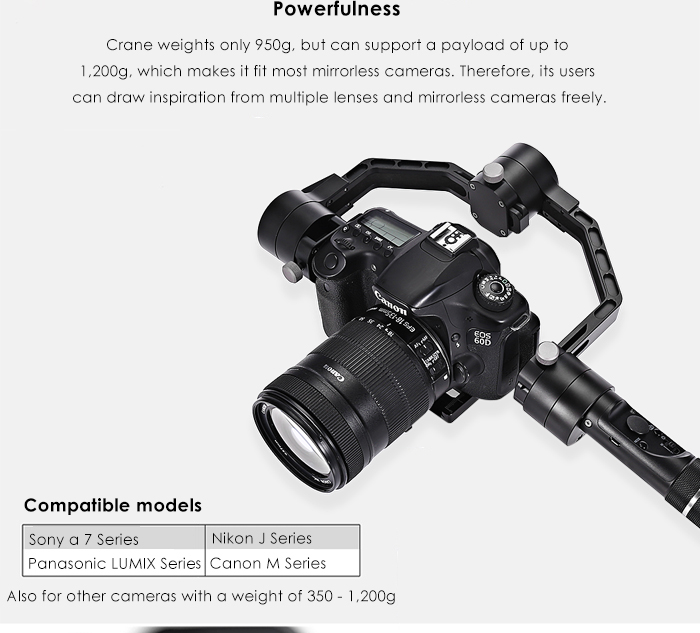 Zhiyun Crane 3-axis Handheld Gimbal with 360-degree Unlimited Rotation Honeycomb Core for Mirrorless Camera