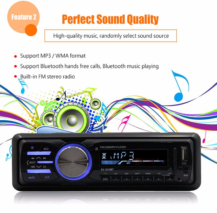 RS - 1010BT Car Bluetooth Hands-Free Call Music Play Stereo MP3 Player FM Radio Support AUX USB SD Card Input