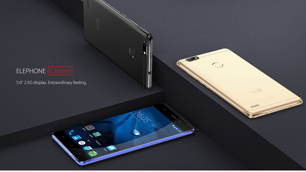 Elephone C1 Mini 4G Smartphone 5.0 inch 2.5D Arc Screen Android 6.0 MTK6737 Quad Core 1.3GHz 1GB RAM 16GB ROM Fingerprint Scanner Metal Body