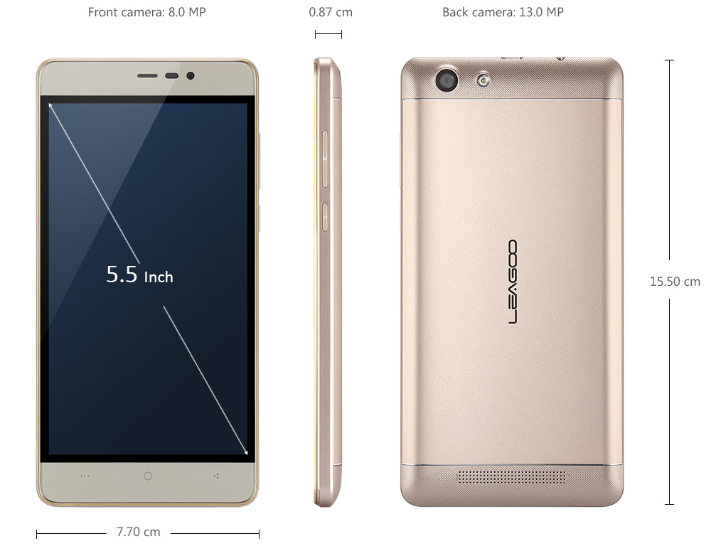 Leagoo Shark 5000 3G Phablet Android 6.0 5.5 inch MTK6580A Quad Core 1.3GHz 1GB RAM 8GB ROM 8.0MP + 13.0MP Cameras 5000mAh Battery