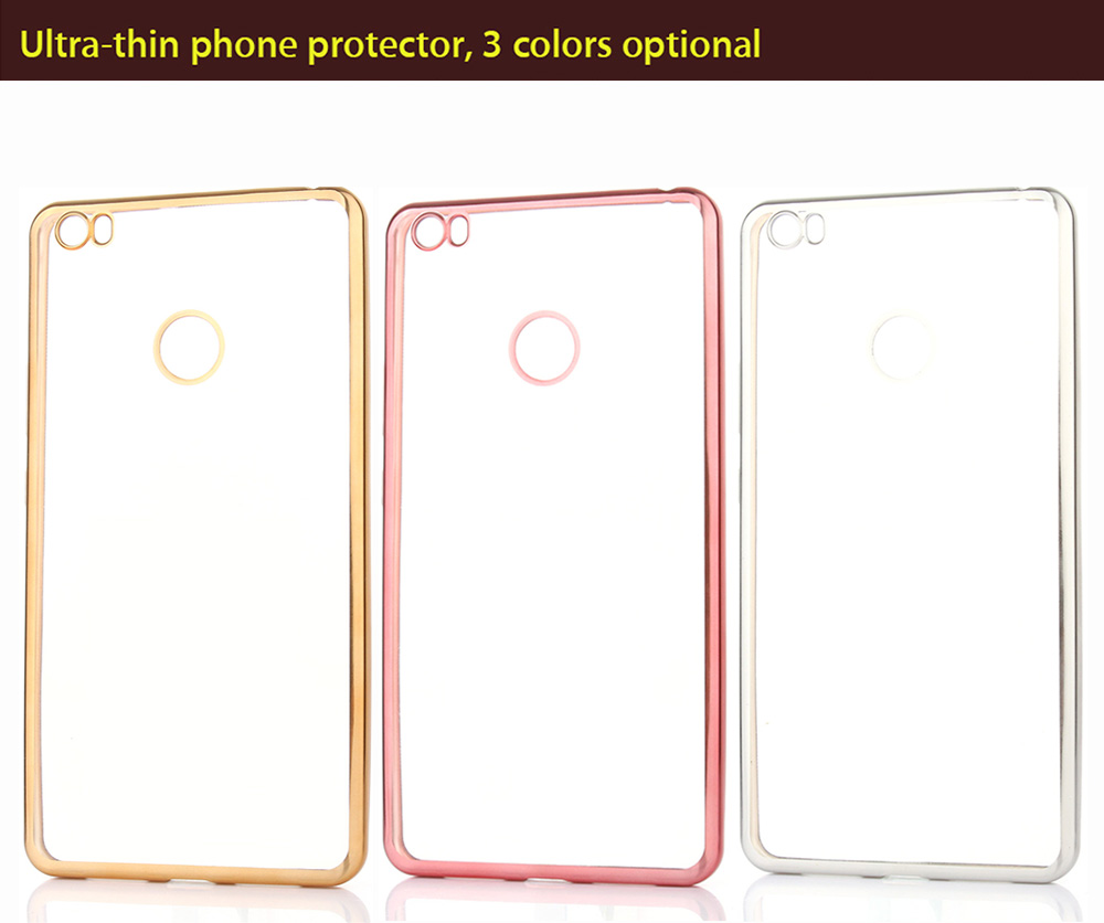 ASLING TPU Soft Protective Case for Xiaomi Max Ultrathin Transparent Style Shell with Electroplated Edge