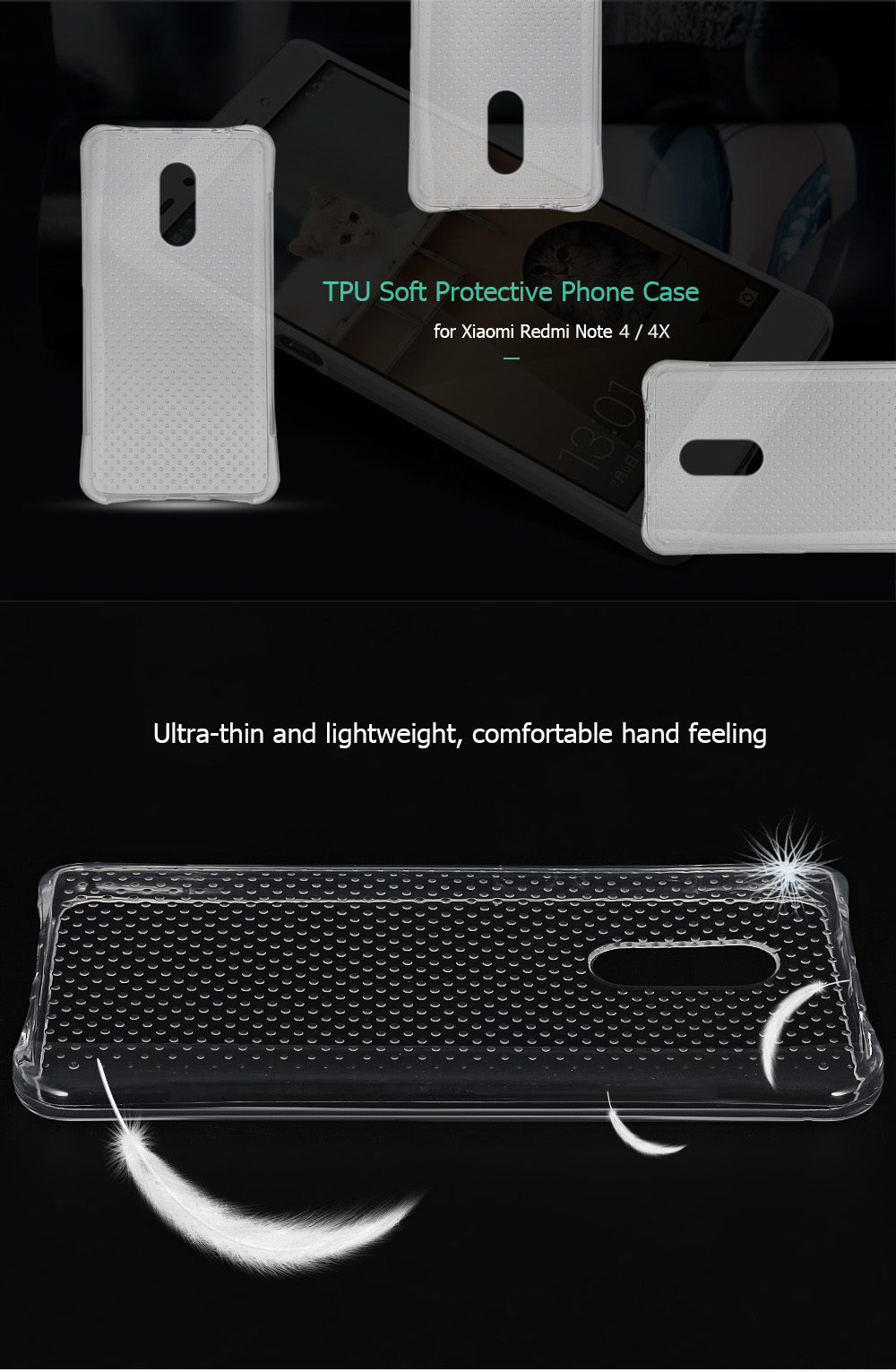 Transparent TPU Soft Case Protective Cover for Xiaomi Redmi Note 4 / 4X Salient Points Design Phone Protector