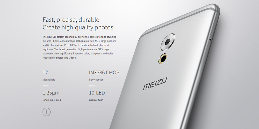 MEIZU Pro 6 Plus 5.7 inch Android 6.0 4G Phablet Exynos 8890 Octa Core 2.0GHz 4GB RAM 64GB ROM Fingerprint Scanner HiFi E-compass Heart Rate Measurement