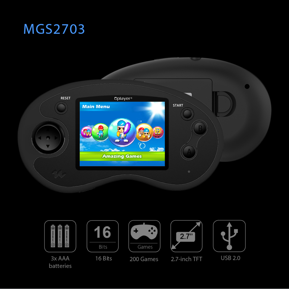 Oplayer MGS2703 Mini Handheld Game Console Controller 2.7 inch LCD TFT Screen Built-in 200 Games