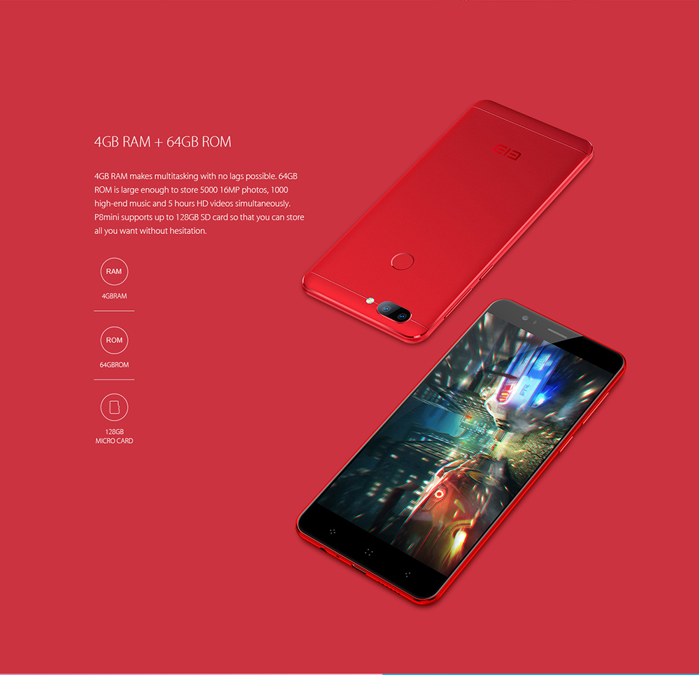 Elephone P8 Mini 4G Smartphone 5.0 inch Android 7.0 MTK6750T Octa Core 1.5GHz 4GB RAM 64GB ROM 13.0MP + 2.0MP Dual Rear Cameras Fingerprint Scanner