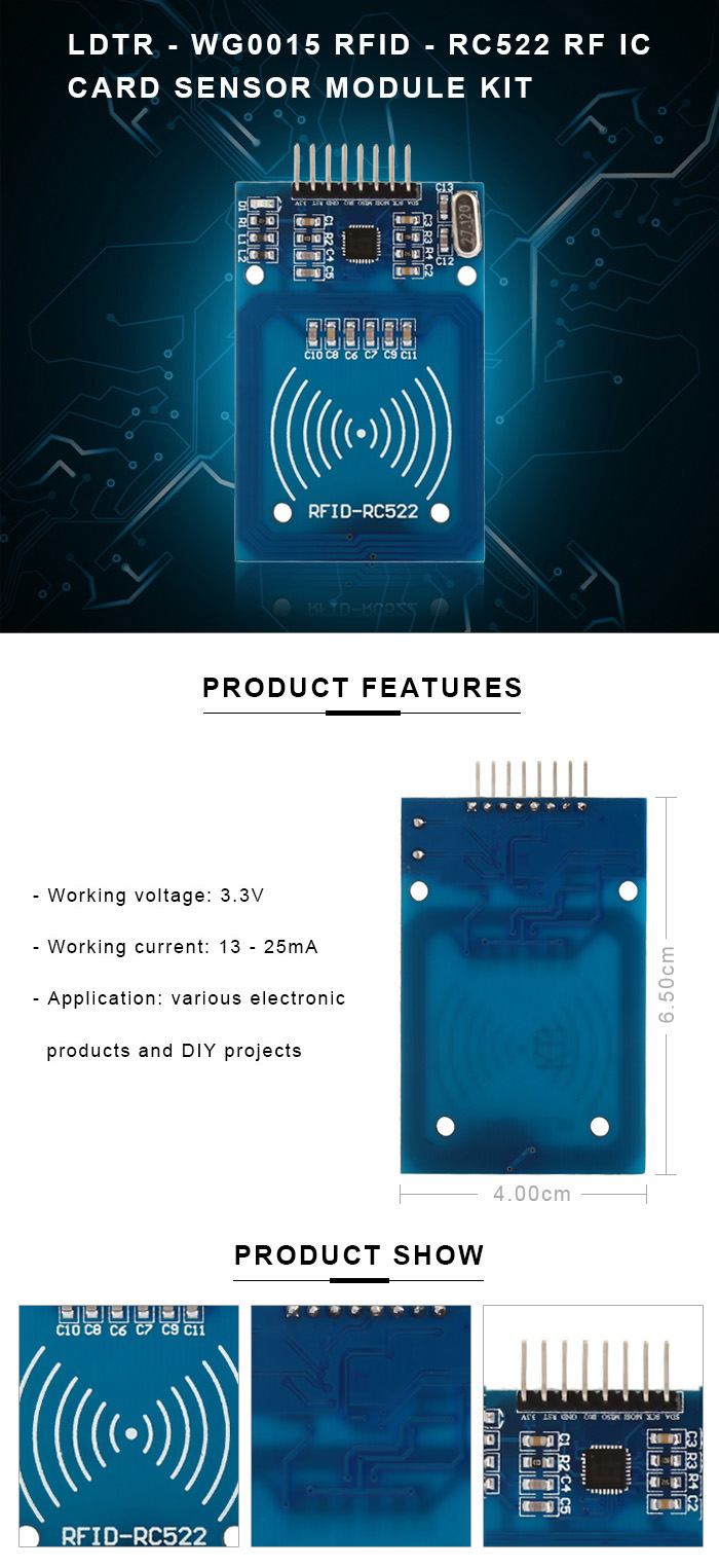 LDTR - WG0015 NFC RFID - RC522 High Sensitivity RF IC Card Smart Key Sensor Module Kit for Arduino