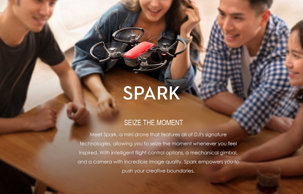 DJI Spark Mini RC Selfie Drone WiFi FPV 12MP Camera / 2-axis Mechanical Gimbal
