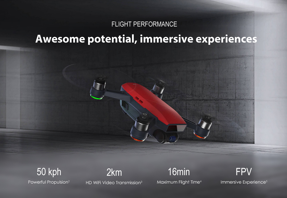 DJI Spark Mini RC Selfie Drone WiFi FPV 12MP Camera / 2km Image Transmission Range / 2-axis Mechanical Gimbal