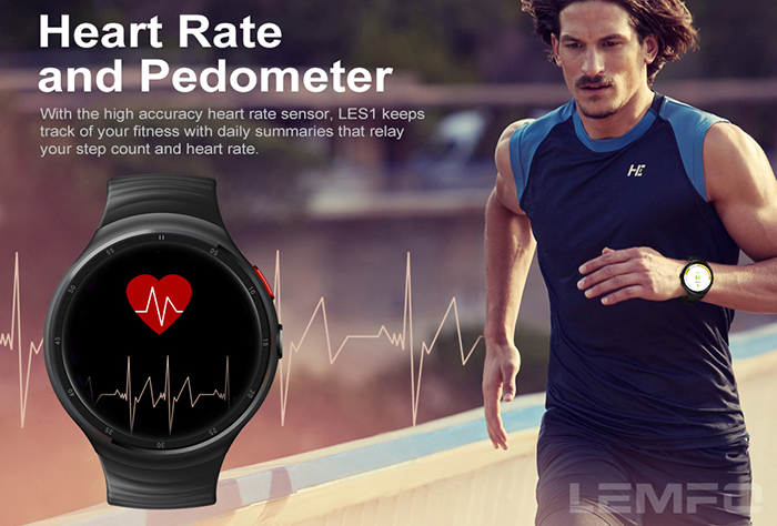 LEMFO LES 1 3G Smartwatch Phone 1.39 inch Android 5.1 MTK6580 Quad Core 1.0GHz 1GB RAM 16GB ROM Heart Rate Monitor WiFi Pedometer Bluetooth 4.0