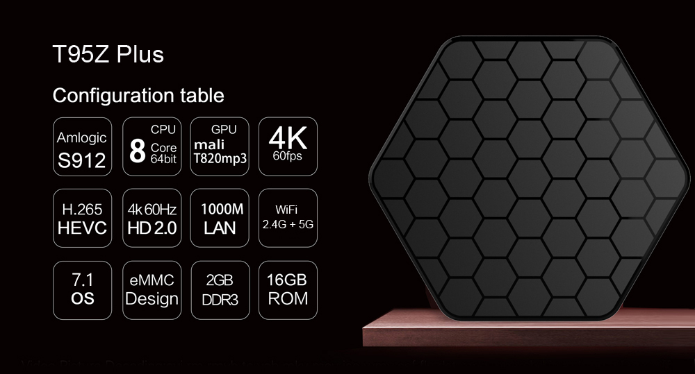 Sunvell T95Z Plus Set-top Box Amlogic S912 Octa Core 4K x 2K H.265 Decoding Android 7.1 2.4G + 5G Dual Band WiFi