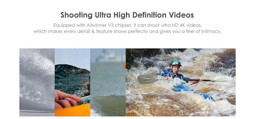 F60 4K 30fps 16MP WiFi Action Sports Camera with Allwinner V3 Chipset / 2 inch LCD
