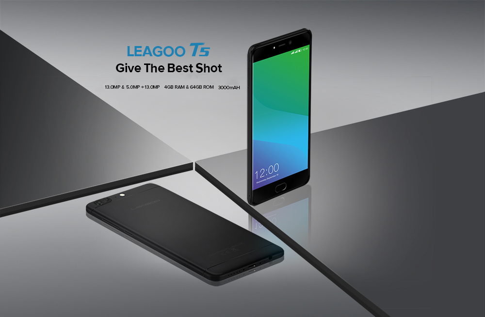 Leagoo T5 4G Phablet 5.5 inch Android 7.0 MTK6750T Octa Core 1.5GHz 4GB RAM 64GB ROM 13.0MP + 5.0MP Dual Rear Cameras Fingerprint Scanner