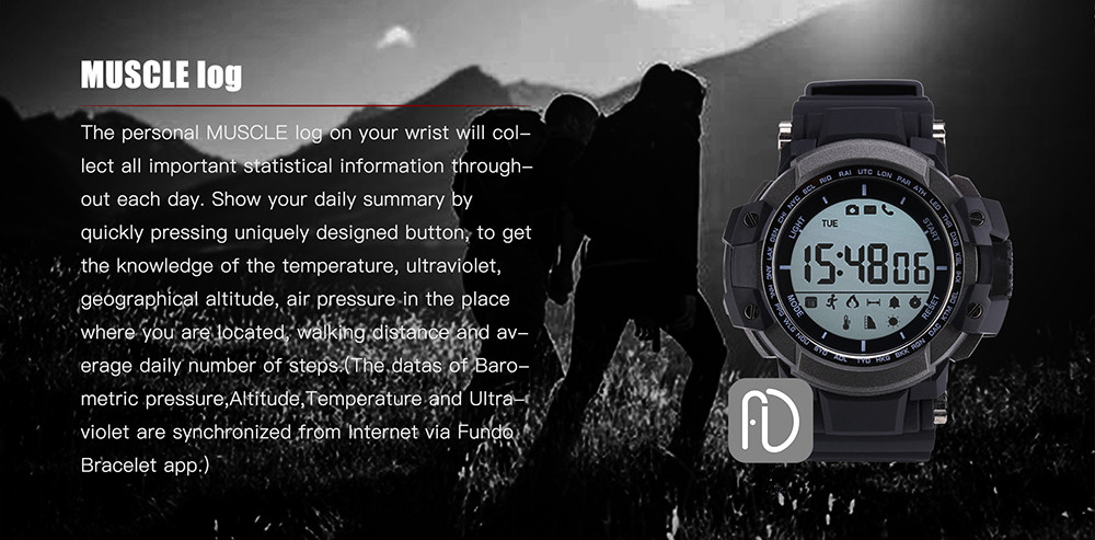 Zeblaze MUSCLE Smartwatch Bluetooth 4.0 Ultraviolet Monitoring Remote Camera Calories Consumption Calling Reminder Pedometer IP67 Waterproof