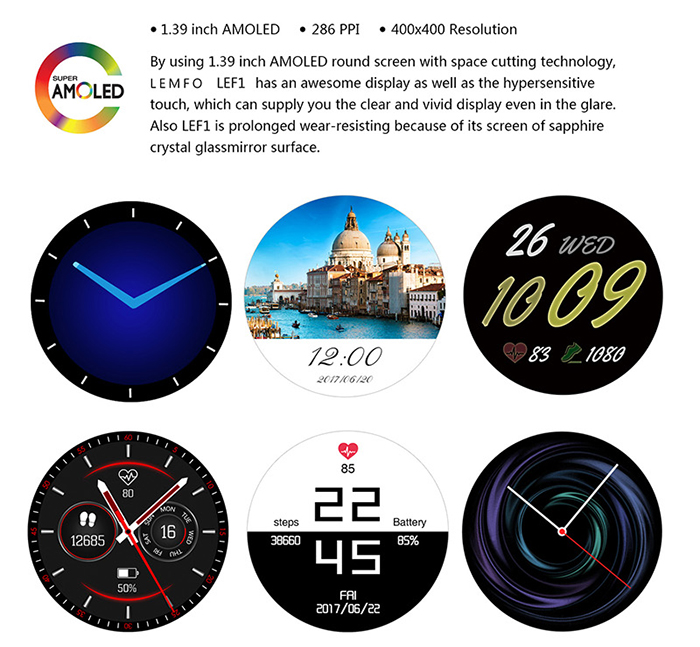 LEMFO LEF1 3G Smartwatch Phone 1.39 inch Android 5.1 MTK6580 Quad Core 1.0GHz 8GB ROM Pedometer Heart Rate Monitor Bluetooth 4.0