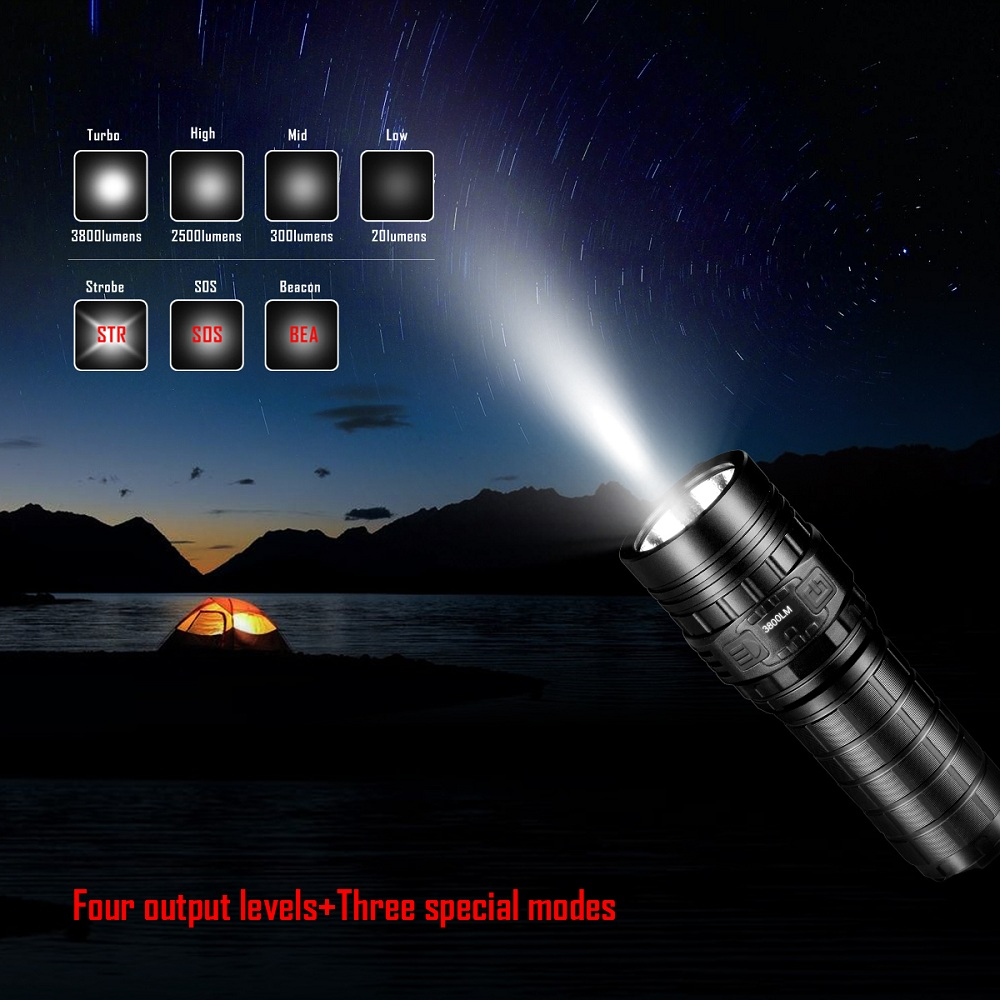 IMALENT DN70 Cree XHP70 3800LM Rechargeable LED Flashlight OLED Display
