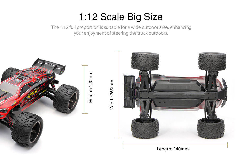 9116 1/12 Scale 2.4G 4CH RC Car Toy 2-wheel Drive Electric Racing Truck