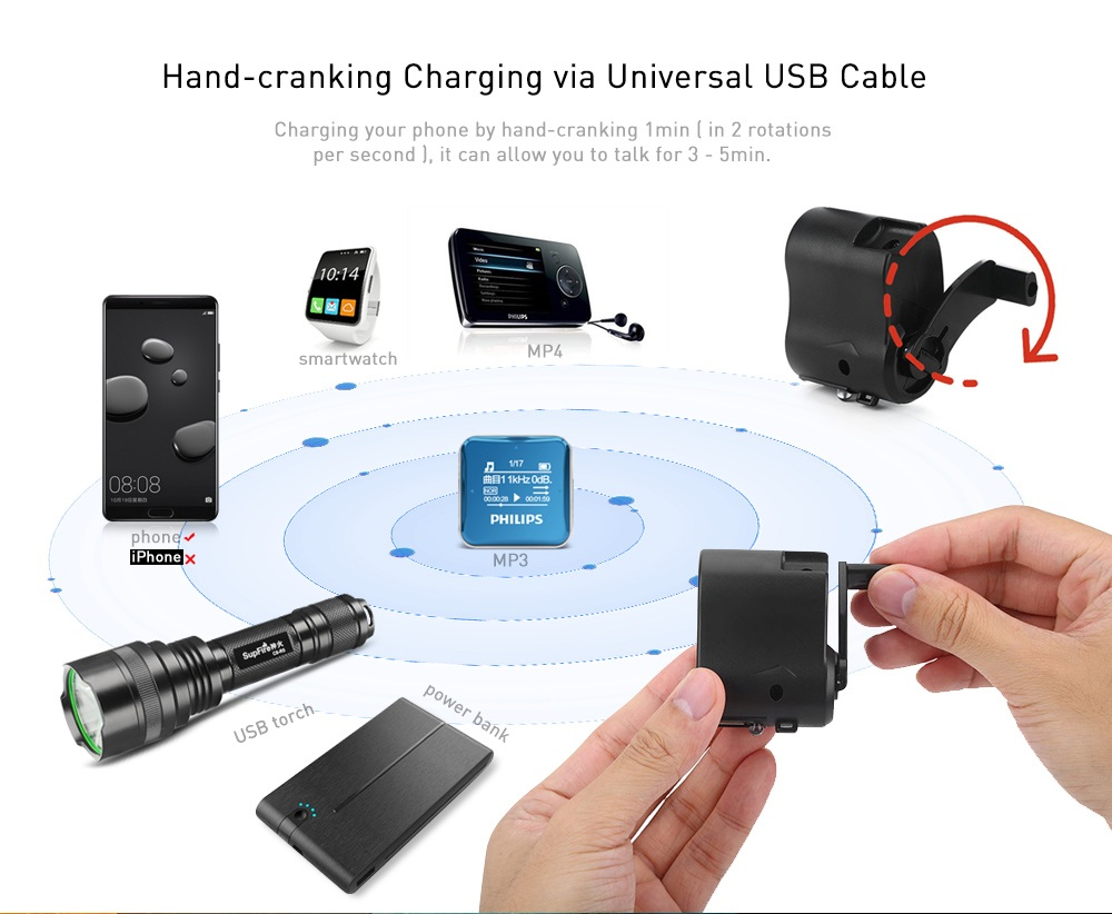 Portable Emergency USB Hand-cranking Manual Dynamo Charger for Mobile Phone