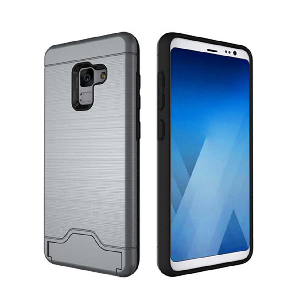 Cover Case for Samsung Galaxy A8 2018 Hybrid Armor Soft Silicone TPU+PC Rubber Card Slot Kickstand Back
