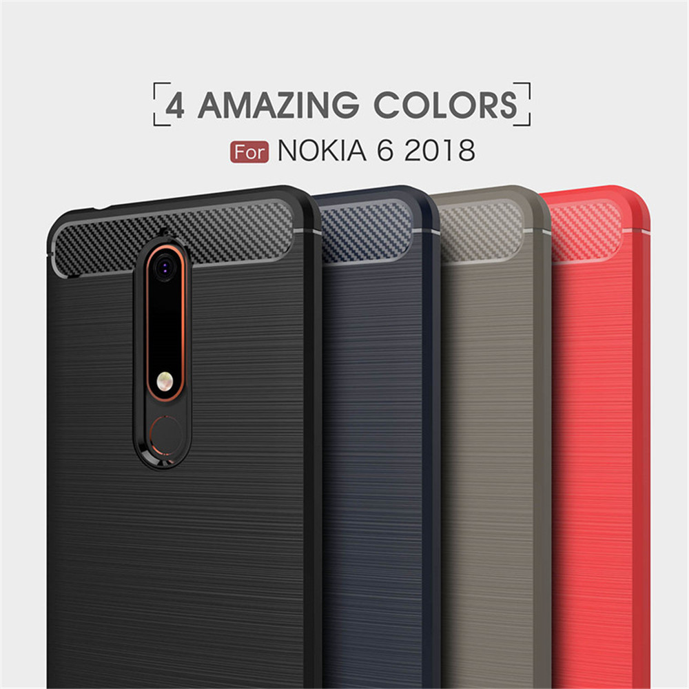 Cover Case for Nokia 6 2018 Shockproof Carbon Fiber TPU Drawing Material Phone