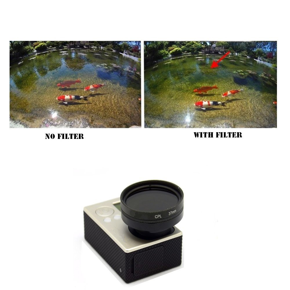 37mm CPL Filter with Cap Circular Polarizer Lens Filter for GoPro Hero 3 3+ 4