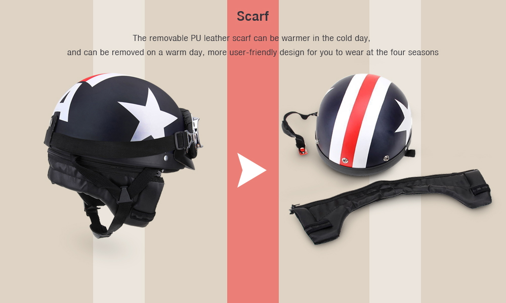 YKT - AB261 Half Open Face Motorcycle Helmet with Goggles Visor Scarf for Biker Scooter Touring