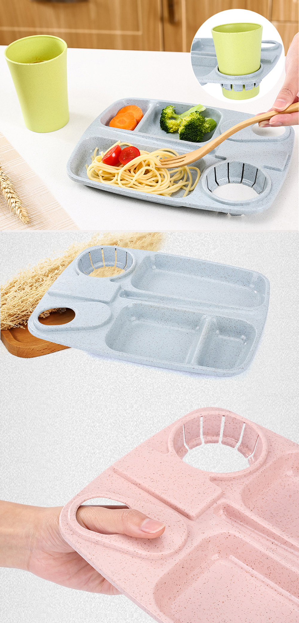 1Pc Wheat Straw with Cup Tray