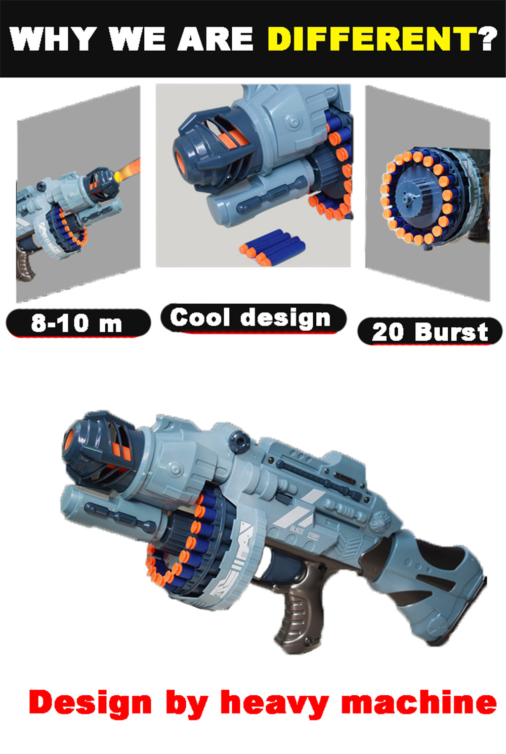 20 Repeating Machine Gun Plastic Airsoft Pistol Soft Bullet Boys Toy Outdoor CS Battle Game Gift Kids Toy