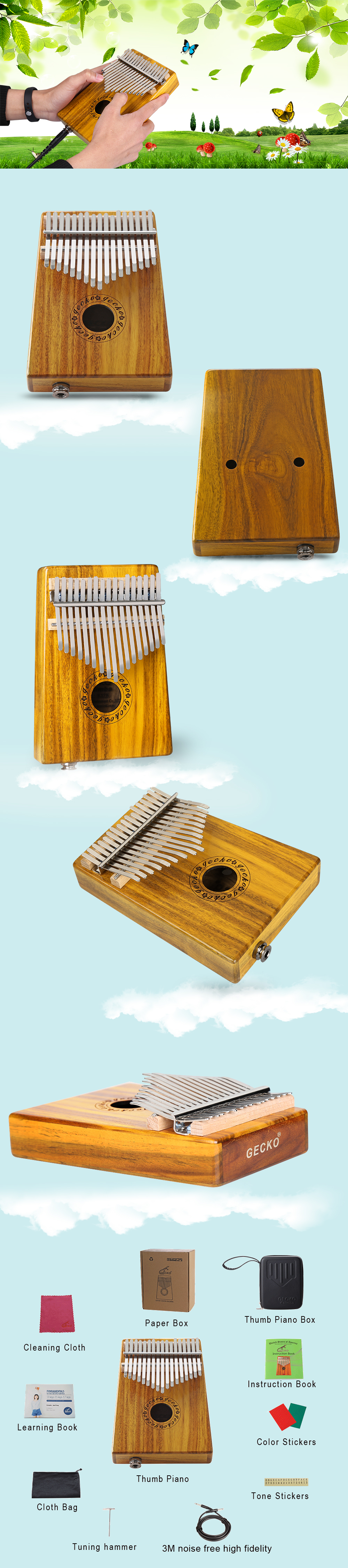 GECKO Mbira Sanza 17 Keys Thumb Piano with Kalimba BOX and High Fidelity Cable