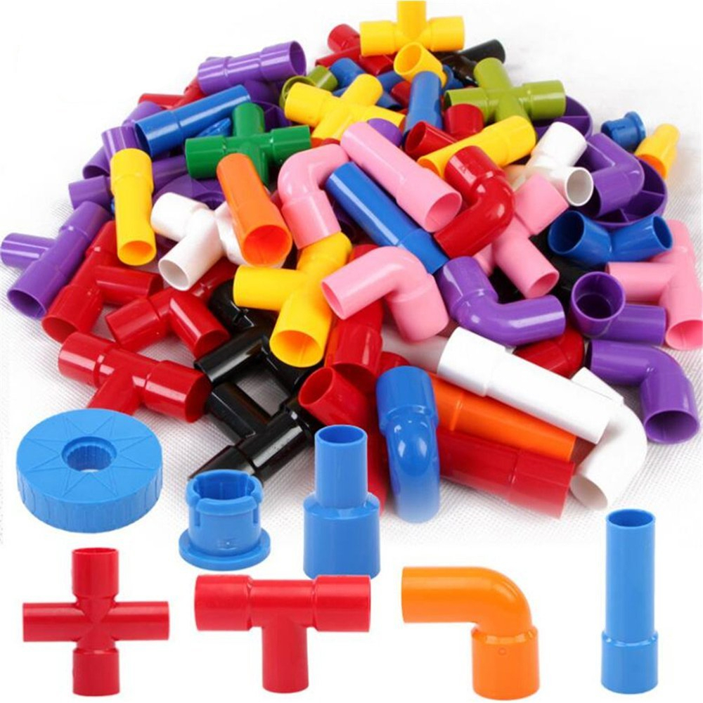 156 Capsules of Plastic Pipe Inserting Blocks Assembled Early Childhood Educational Toys